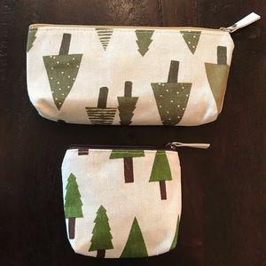 Pine Tree Cosmetic Bag / Pencil Case Set
